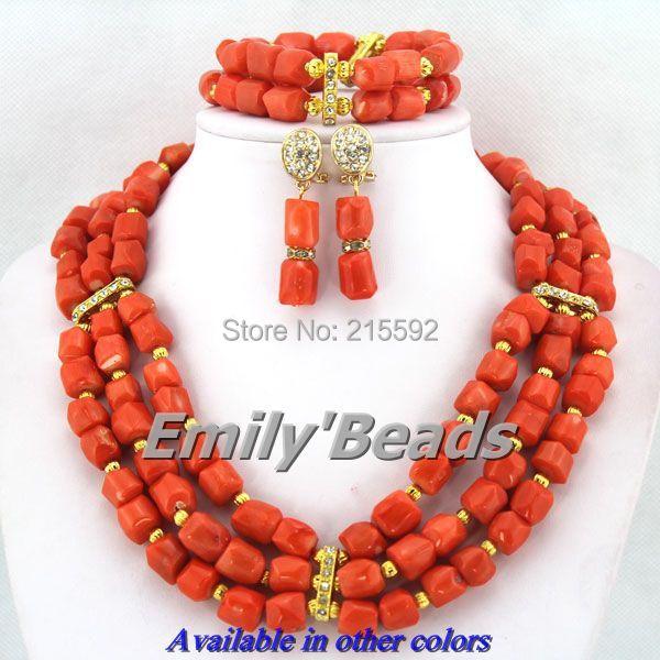 African Coral Beads Jewelry Set Wedding Nigerian Bridal Jewelry Set Orange/Pink Big African Jewelry Set Free Shipping CJ300