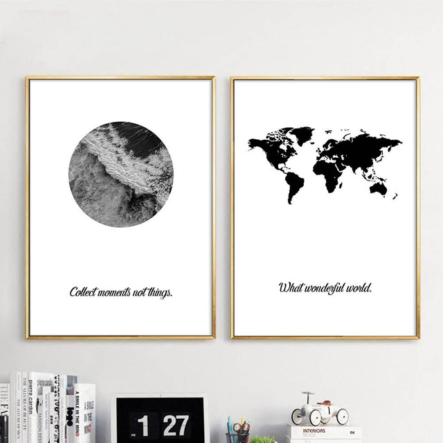 Black White World Map Ocean Wall Art Canvas Posters Nordic Landscape - Map of the world poster black and white