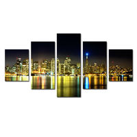 5 Panel Large HD Printed Oil Painting City Night View Canvas Print Art Home Decor Idea