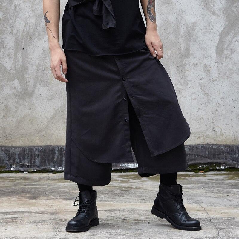 Men Fake 2 Piece Splice Loose Wide Leg Casual Pants Male Japan Streetwear Hip Hop Gothic Punk Harem Trousers Kimono Skirts Pants