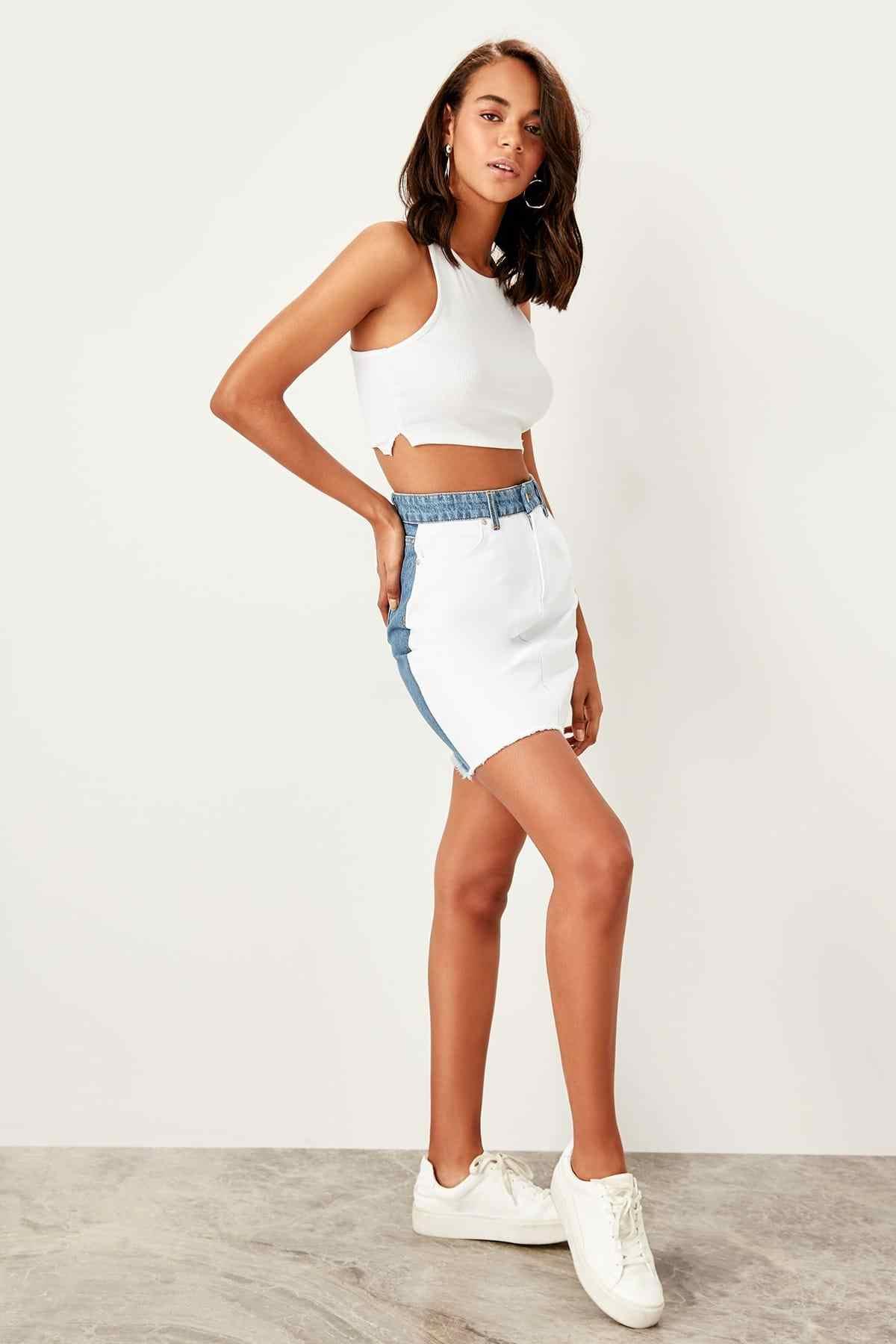 Trendyol כחול לבן חצאית Ucu גדילים ינס חצאית TWOSS19NI0090