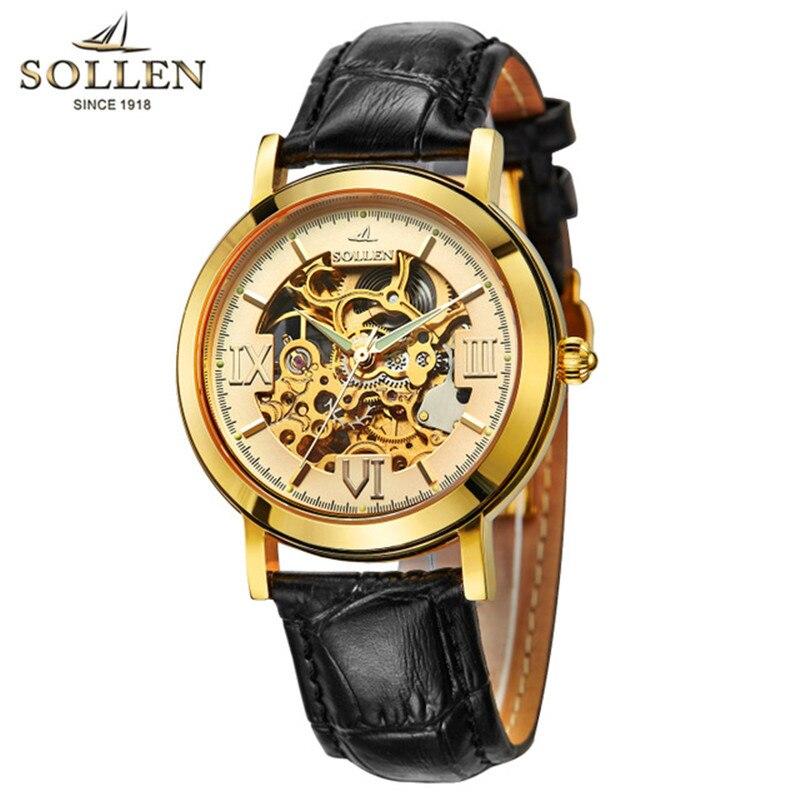 SOLLEN Neue Mode Mechanische Uhr Männer Schädel Design Top Marke Luxus Goldenen Echtem Leder Armband Skeleton Mann Armbanduhr Auto-in Mechanische Uhren aus Uhren bei  Gruppe 1