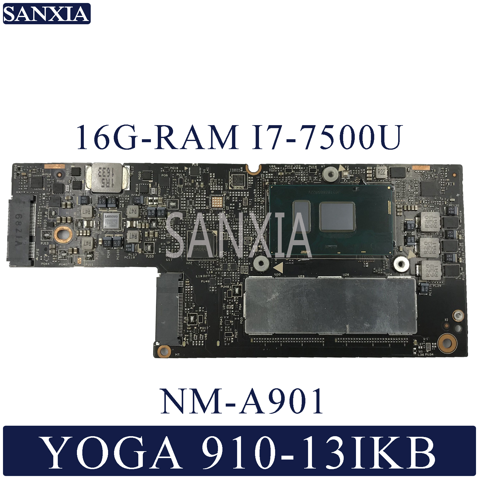 KEFU NM-A901 Laptop Motherboard For Lenovo YOGA 5 Pro 910-13IKB Original Mainboard 16G-RAM I7-7500U