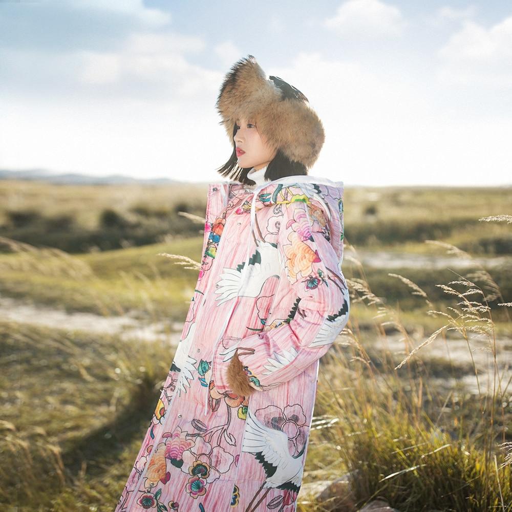 MM215 New Arrival 2017 vintage crane printed hooded warm winter coat long white duck down jacket women