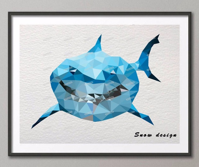 Shark Wall Art aliexpress : buy low poly modern geometric shark canvas