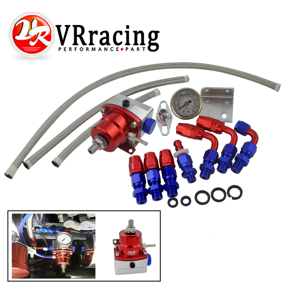 VR - Universal Adjustable Fuel Pressure Regulator Oil 160psi Gauge AN 6 Fitting End WITH/WITHOUT PQY LOGO + STICKER