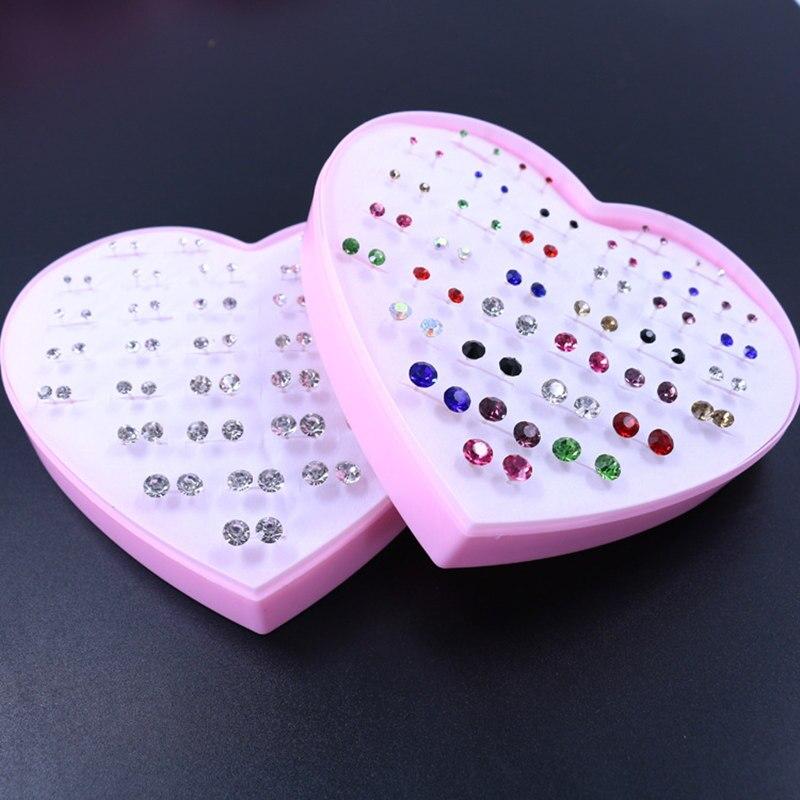 36 Pair Multi-size Color crystal Earrings Peach Heart Box Earrings Accessories Stud Earrings Set For Prevent allergy Women