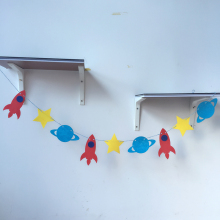 Freeshipping Space Rocket 3 Meter Felt Banner Flag Birthday Party Decoration Bunting supply fabric
