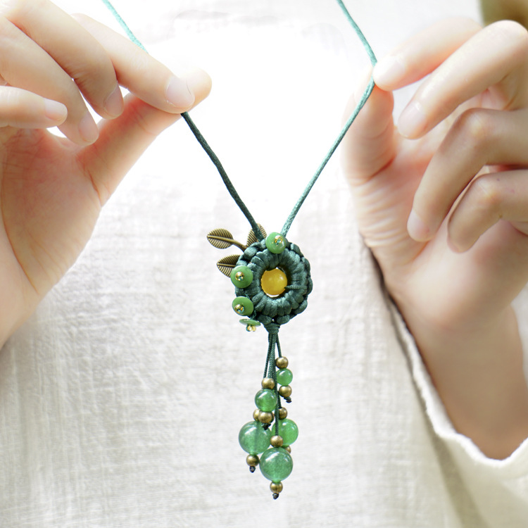 Handmade Knitted Pendant Necklace Green Chalcedony Beads Tassel Copper Leaf Long Sweater Chain Ethnic Women Necklace 0556