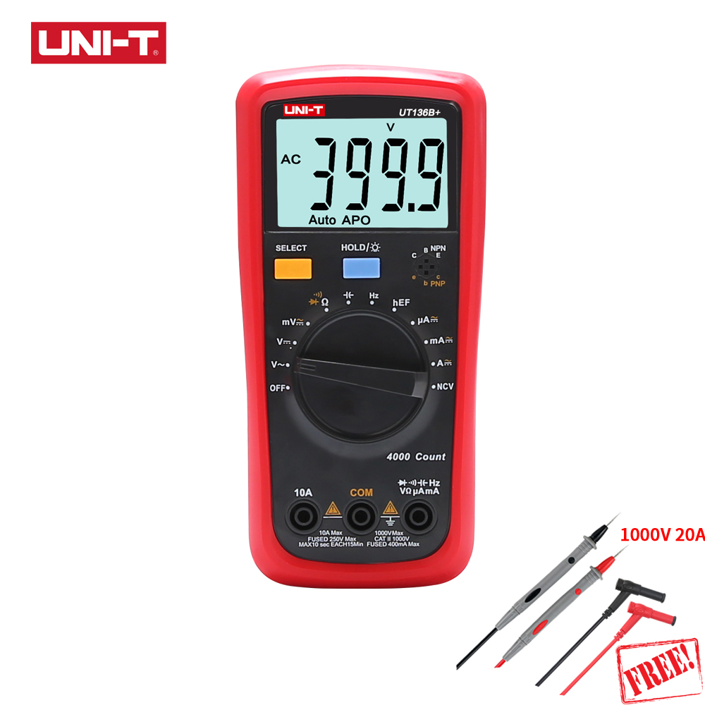 UNI-T UT136B+ UT136C+ 1000V 10A Auto Range Digital Multimeter Resistor Capacitor Frequency Temperature HFE NCV Test Data Hold цена