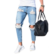 Модная уличная одежда, мужские джинсы, стрейчевые, рваные, дизайн, модные узкие брюки, на молнии, обтягивающие джинсы для мужчин