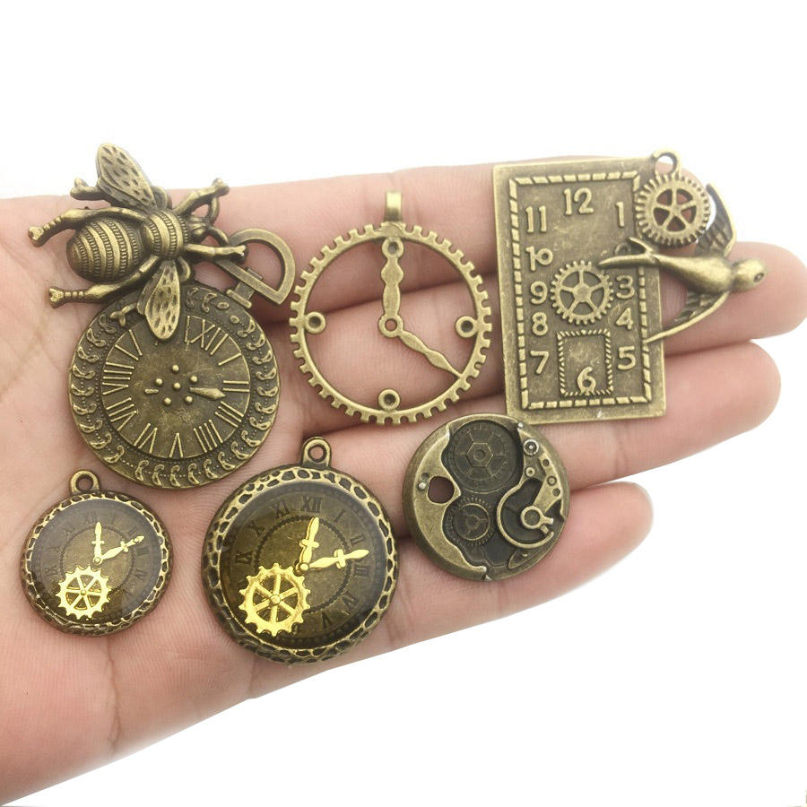 30pcs Steampunk Clock Face,Watch Gear Wheel Charms Pendant for Jewellery Making