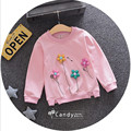2017 hot selling baby girl flowers long sleeve t-shirt fashion pure cotton casual princess clothing 3 colors