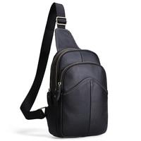 New Retro Genuine Leather Men Chest Bag Pack Crossbody Shoulder Messenger Bag Travel Zipper Bags