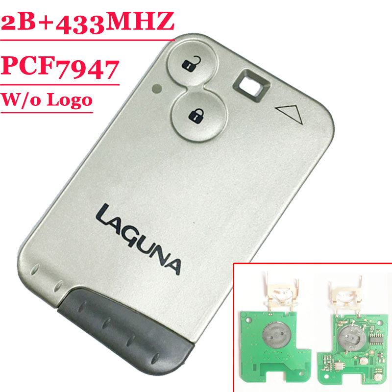 (1piece) 2 Button 433MHZ Pcf7947 Chip Remote Key Card For Renault Laguna With Grey Blade With Words