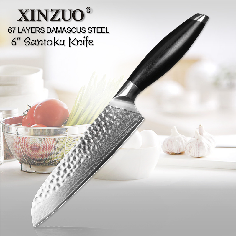 XINZUO 6 inch Santoku Knife VG10 Damascus Stainless Steel High Quality Newarrive Japan Chef Kitchen Knives