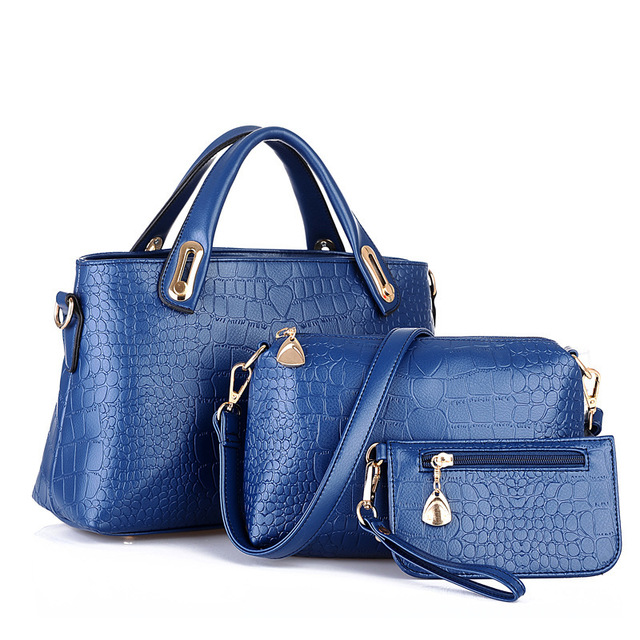 Women PU Composite Bag Casual Solid Zipper Leather Handbag Messenger Bag Purse 3 Sets Design