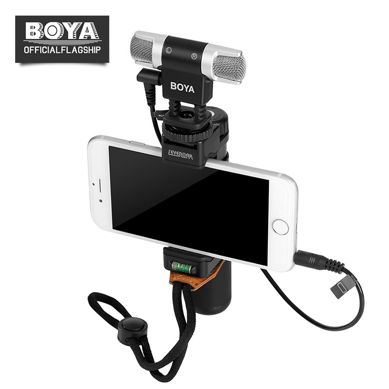 цена BOYA BY-MM3 Dual Head Professional Stereo Recording Microphone for iPhone Android Smartphone DSLR Camera DV Livestreaming Video