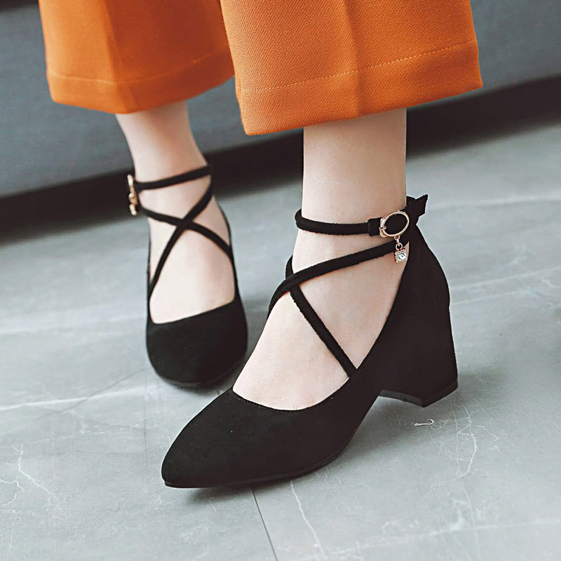 European party sexy pointed toe flock pumps fashion cross belt buckle black red beige rhinestone thick high heel women shoes