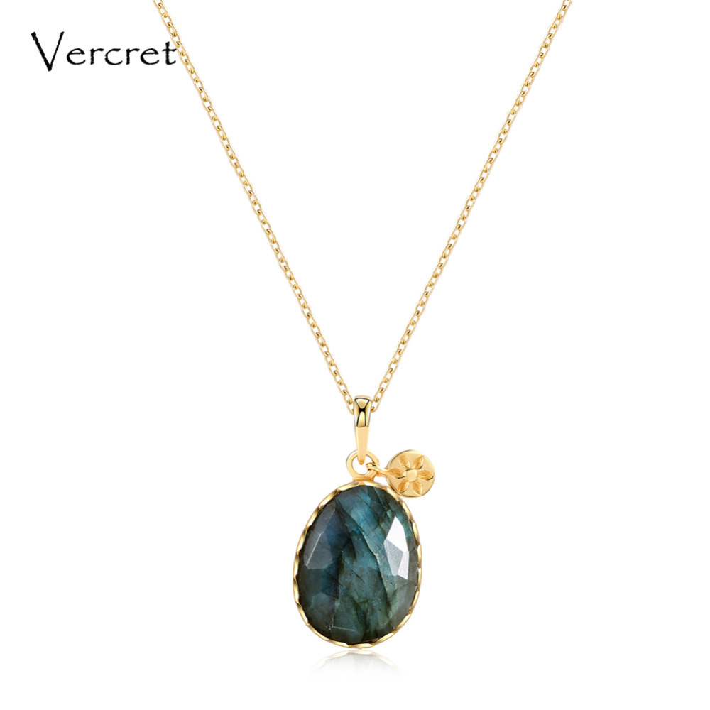 Vercret 925 sterling silver chain necklace labradorite stone pendant necklace women s jewelry gift