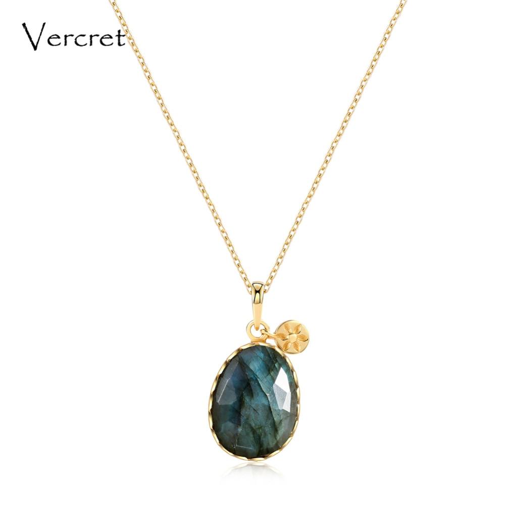 Collier en argent sterling Vercret 925 collier pendentif en pierre labradorite bijoux pour femmes cadeau