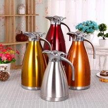 4 Farbe 1L 1.5L 2L Kaffee Thermoskanne Becher Edelstahl Teekanne Vakuum Flaschen Tassen Wärmflasche