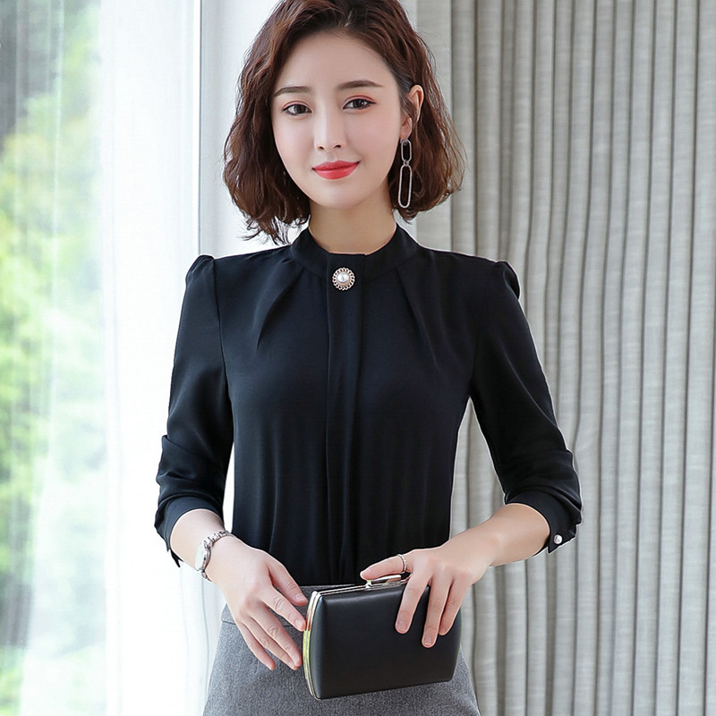 Image 5 - Elegant shirt women 2019 Autumn New long sleeve stand collar temperament chiffon blouse office ladies plus size topsBlouses & Shirts   -