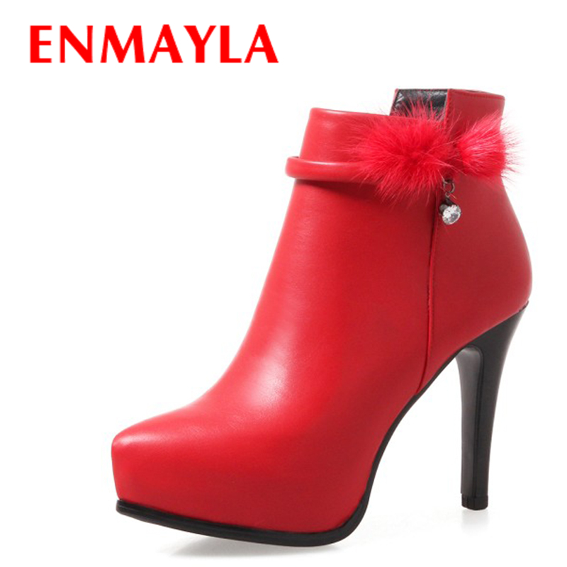 ENMAYLA Fashion Faux Fur High Heels Boots Leather Women Stiletto Heels Platform Ankle Boots for Women Sexy Wedding Shoes Woman new arrive 2013 fashion free shipping stiletto high heels platform wedding shoes for women white