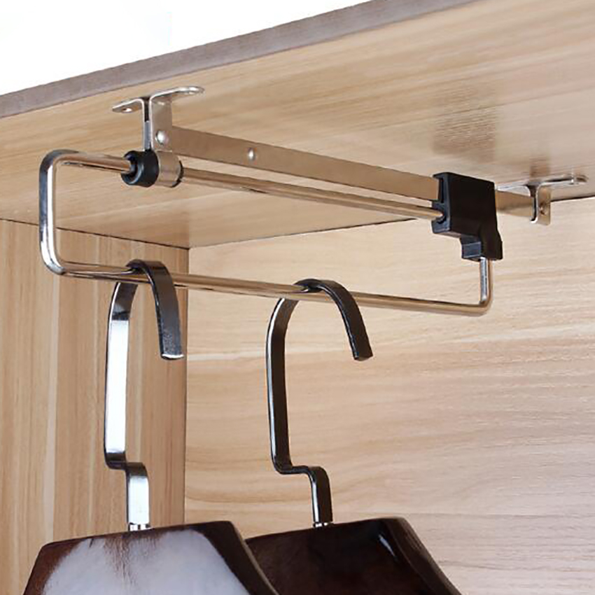 Adjustable Clothes Rails Wardrobe Pull Out Retractable Cabinet Hanger Closet Rod Rail Organizer Rack Rods