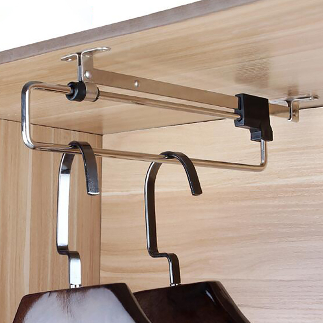 Adjule Clothes Rails Wardrobe Pull Out Retractable Cabinet Hanger Closet Rod Rail Organizer Rack Rods In Storage Holders Racks From