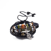 Pulseira Bronze Star Rivets Cowhide Women Bracelets Charm Musical Notes Bracelet Pendants Leather Braided Snake Chain Bracelet
