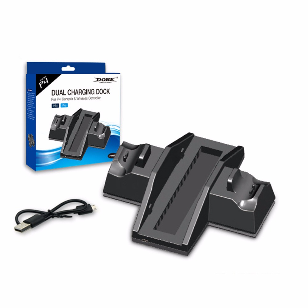 Dual host cooling Charge base Dock For Sony Playstation 4 Controller Gamepad Handle Cradle Double Charging Charger For PS4 Games