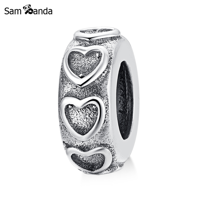 Authentic 100% 925 Sterling Silver Charm Bead Love Heart Fit Pandora Charm Bracelets & Bangles DIY Fine Gift For Women Jewelry