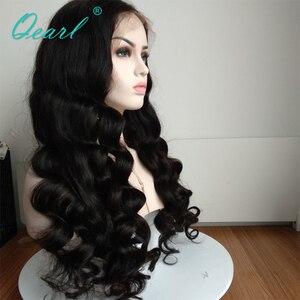 Image 2 - スーパー厚い密度レースフロント人間の髪かつらブラック 480 グラムブラジルの Remy 毛レースフロントかつら 13 × 4 Qearl 髪