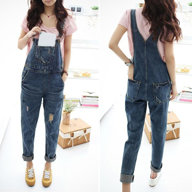 9f3832cf58e Denim Jumpsuit Rompers Women Overall Korean 2017 Autumn Casual Baggy Jeans  Pinafore Dungaree Rompers Women Jumpsuit Plus Size