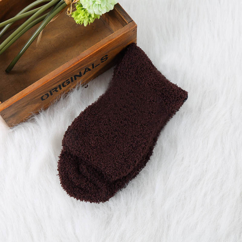 Мужские уютные кашемировые зимние мужские толстые носки зимние теплые пушистые носки-тапочки шерстяные однотонные мужские носки Chaussette Homme Calcetines - Цвет: fleece coffee