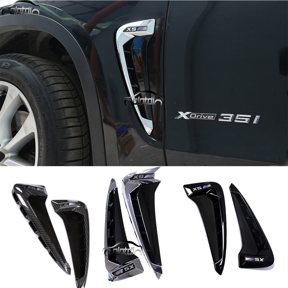 2x Gloss Black Side Body Marker Fender Air wing Vent Trim M For X5 F15 2014+