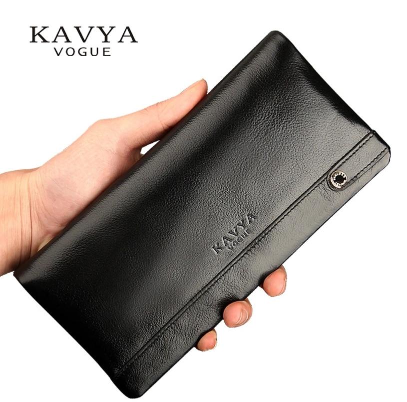 KAVYA äkta läder plånbok män mode ny designer gåva för män kalvskinn handväska långa avsnitt väskor koppling plånbok drop ship