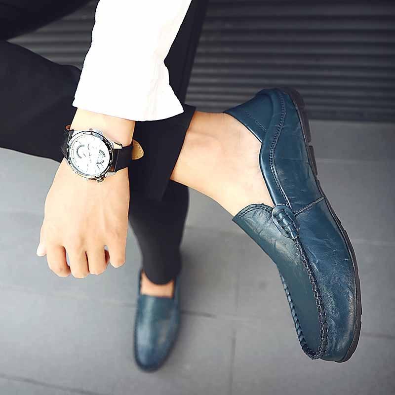 Véritable Hommes Chaussure Ww bleu 382 Masorini Slip Sur Mocassins Classique Designer En Mâle Homme Plat Noir Bateau Mocassin Cuir Chaussures marron q1awIA