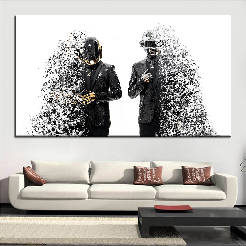 Große Größe Druck Ölgemälde Daft Punk Splashed Wandmalerei Decor Wandkunst  Bild Für Wohnzimmer Malerei Kein Rahmen