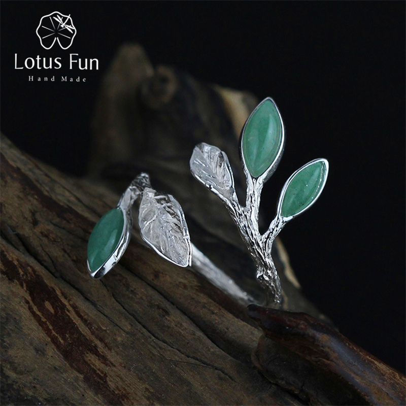 Lotus Fun Real 925 Sterling Silver Jewelry Natural Stone Handmade Fine Jewelry Adjustable Leaves Ring Female Rings for Women цена