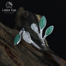 Lotus Fun Real 925 Sterling Silver Jewelry Natural Stone Handmade Fine Jewelry Adjustable Leaves Ring Female Rings for Women