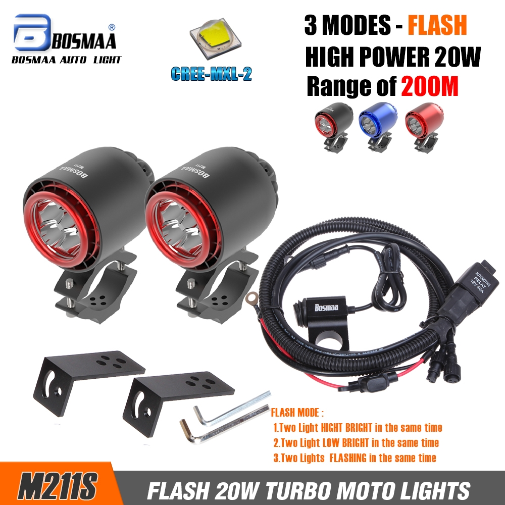 Turbo Universal Headlight Led String: BOSMAA M211S 2pcs 20W TURBO Motorcycles LED 4800LM U2 LED