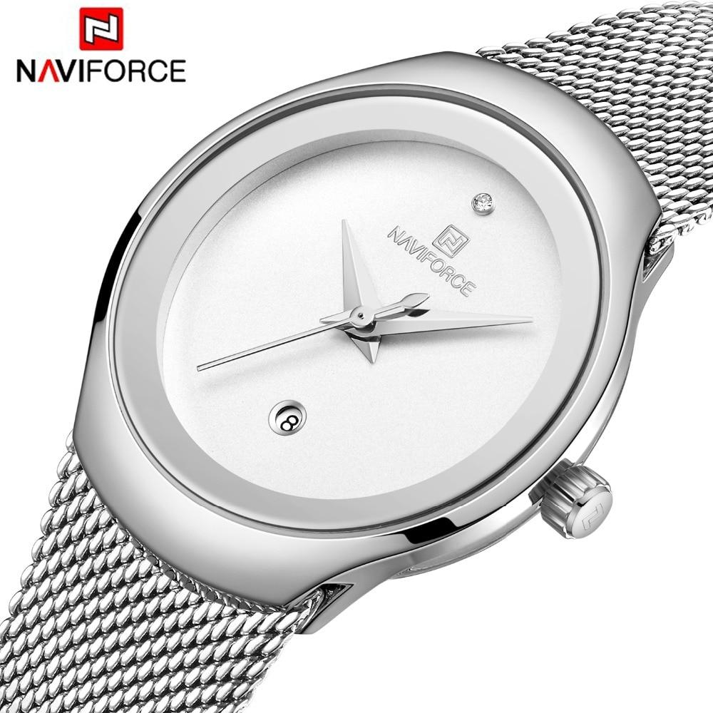 Naviforce 여성 시계 탑 럭셔리 브랜드 레이디 패션 캐주얼 단순 스틸 메쉬 스트랩 손목 시계 여자를위한 선물 relogio feminino-에서여성용 시계부터 시계 의  그룹 1