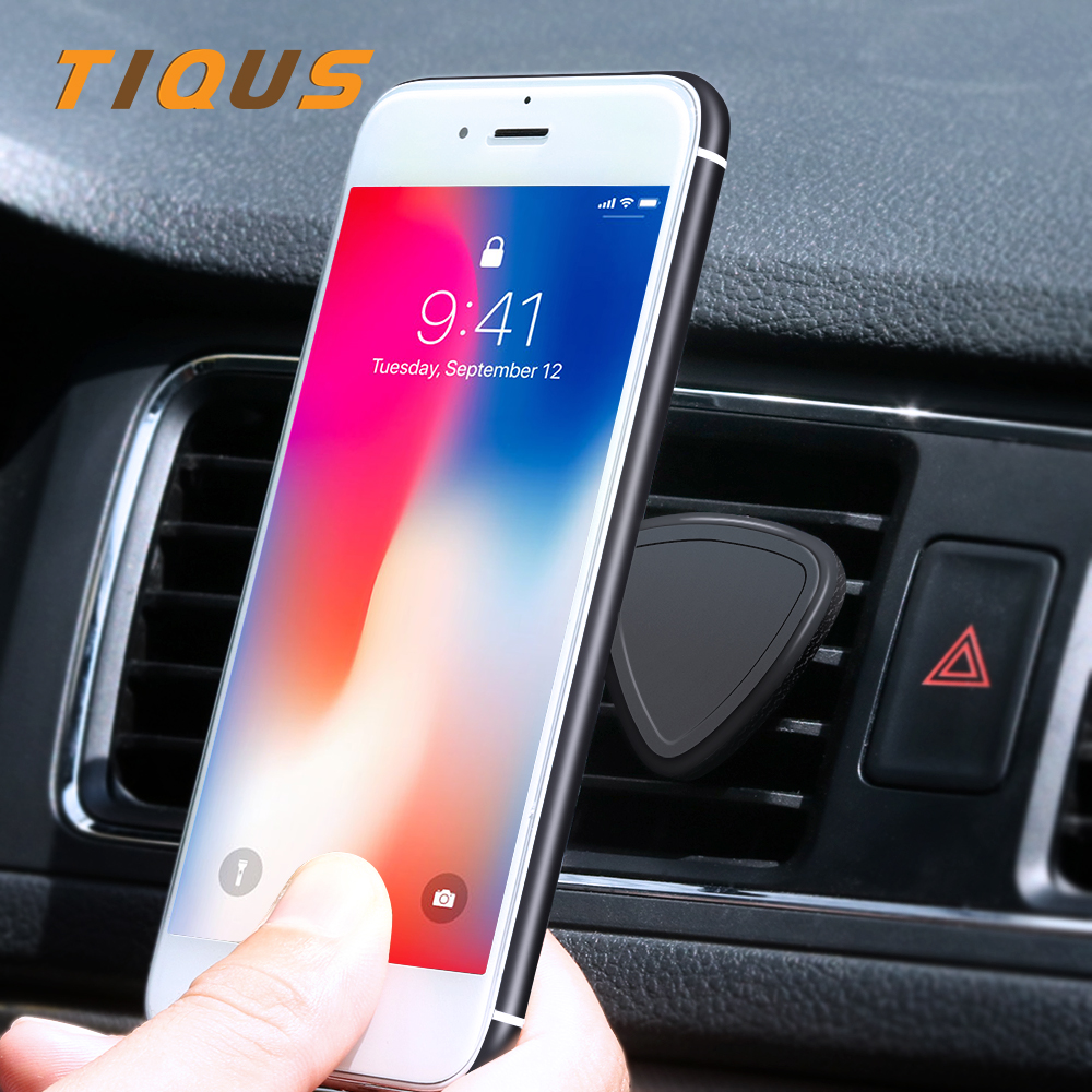 TIQUS Magnetic Car Phone Holder Air Vent Mount Magnet Universal Mobile Phone Holder For iPhone 7 8 Plus Samsung Cell Phone