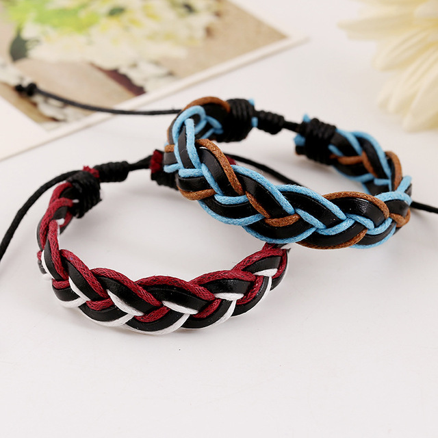 Stylish Hemp Rope Braided with Vintage Genuine Leather