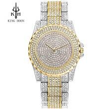 2016 Nueva Llegada de Lujo de Las Reloj mujer de diamantes de Imitación de Cristal Reloj de pulsera de Señora Reloj de Vestir de Los Hombres de Lujo Analógico de Cuarzo Relojes Relogio