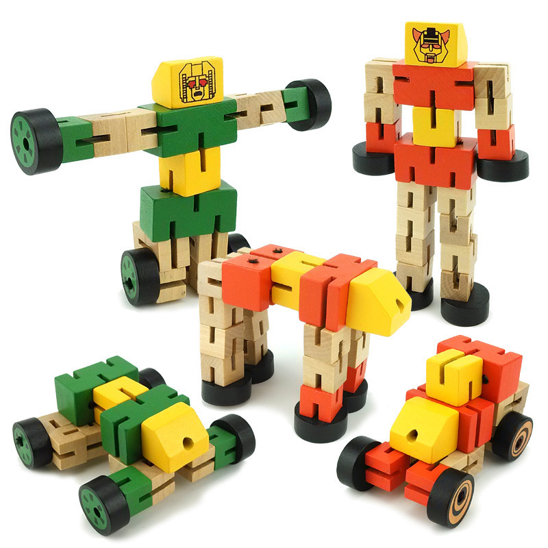 Wooden Transformation Robot Building Blocks Kids Toys for Children Educational Learning Intelligence Gifts WJ479 casual round collar owl pattern short sleeves t shirt for women