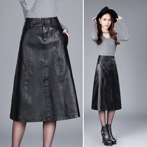 Image 3 - women Winter midi skirt 2019 spring womens high waist PU leather skirt faldas vintage saias plus size M 4XL