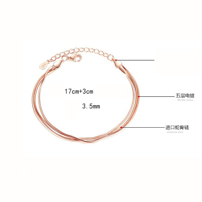 Hot Sale Rose Gold Silver Color Alloy Multilayer Bracelets Snake Chain Charm Bracelets For Women Personality Jewelry in Charm Bracelets from Jewelry Accessories